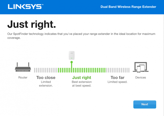 distancia optima entre el router y el amplificador Linksys RE7000