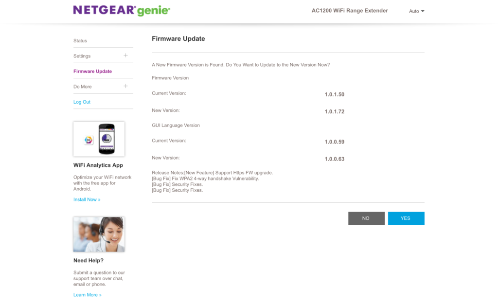 actualizaciones para el Netgear EX6200